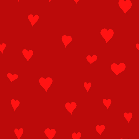 chaotic vector red doodle hearts seamless pattern - for Valentine's day