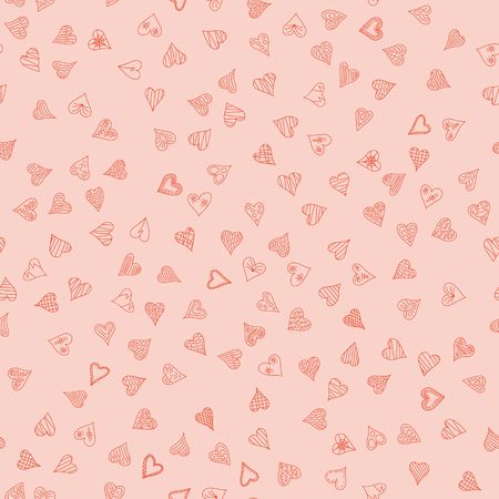 chaotic vector pink doodle hearts seamless pattern - for Valentines day