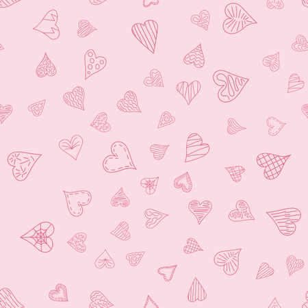 Chaotic vector pink doodle hearts seamless pattern - for Valentine's day Ilustracja