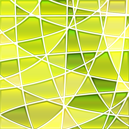 Abstract vector stained-glass mosaic background - green and yellow 일러스트