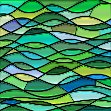 abstract vector stained-glass mosaic background - green and teal waves