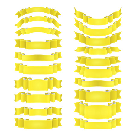 isolated vector colored satin ribbons set  on yellow Illustration