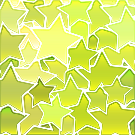 abstract vector stained-glass mosaic background - light yellow and green stars