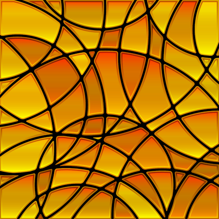 abstract vector stained-glass mosaic background - golden circles Illustration