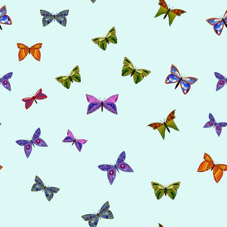 abstract vector colorful doodle butterflies seamless pattern Illusztráció