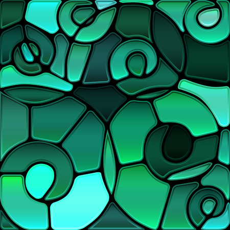 abstract vector stained-glass mosaic background - teal spirals