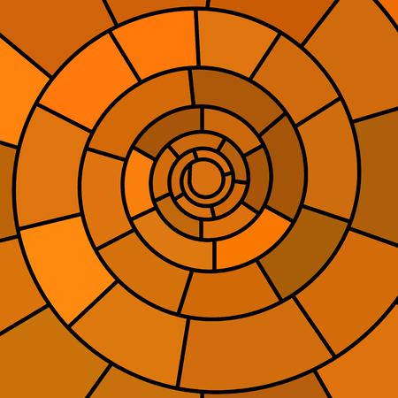 Abstract vector stained-glass mosaic background orange spiral.
