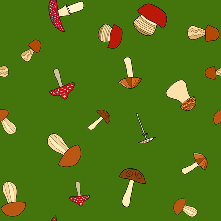 abstract vector doodle mushroom seamless pattern 写真素材 - 100365480