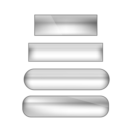 vector web buttons set - silver