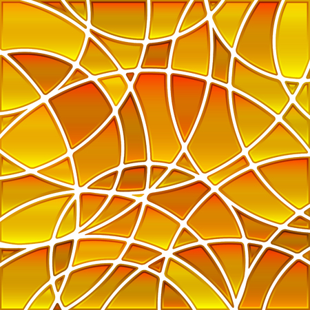 abstract vector stained-glass mosaic background - yellow and orange circles Illustration
