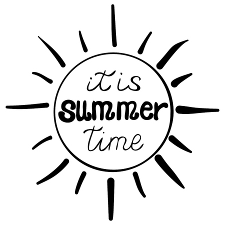 vector black ink summer lettering - it is summer time