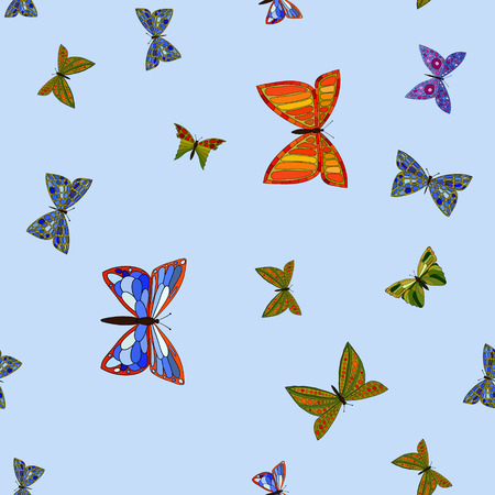 abstract vector colorful doodle butterflies seamless pattern Illustration