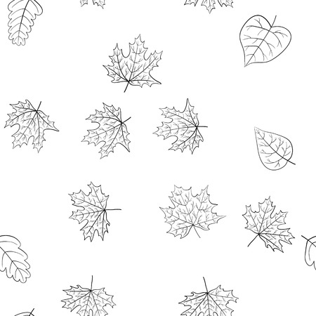 abstract vector doodle autumn leaves seamless pattern - coloring book Ilustração