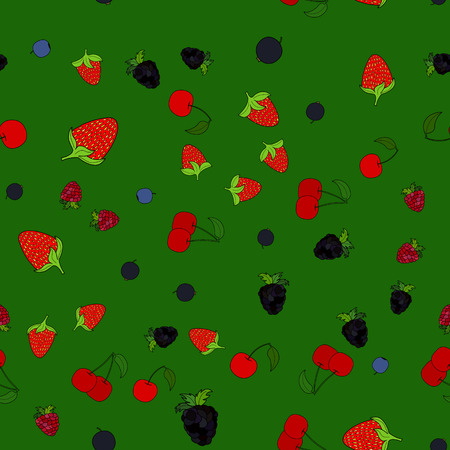abstract vector doodle berry seamless pattern