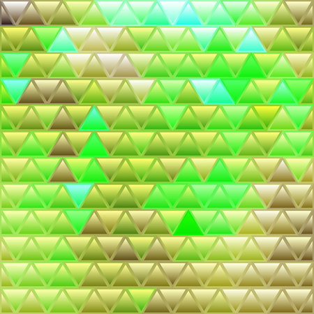 abstract vector stained-glass triangle mosaic background - yellow and green