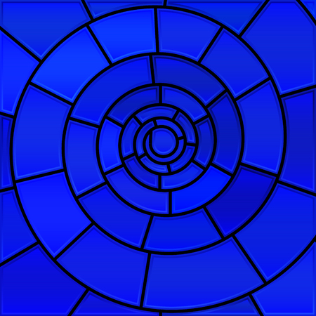 abstract vector stained-glass mosaic background - blue spiral