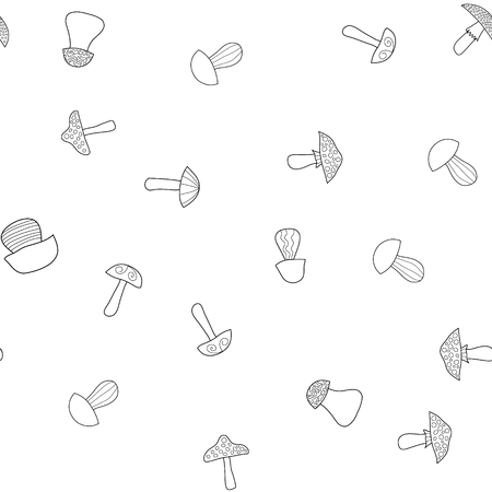 abstract vector doodle mushroom seamless pattern - coloring book
