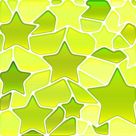 abstract vector stained-glass mosaic background - green and yellow stars