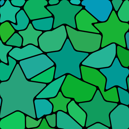 abstract vector stained-glass mosaic background - green and teal stars