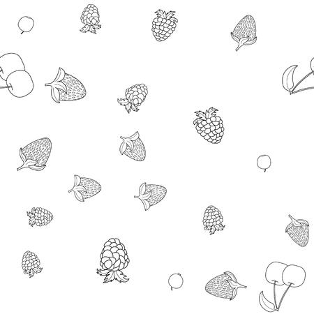 abstract vector doodle berry naadloze patroon Vector Illustratie