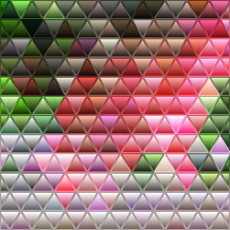 abstract vector stained-glass triangle mosaic background - red and green