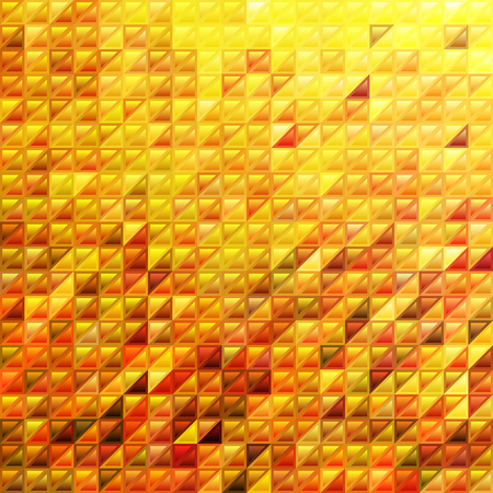 abstract vector stained-glass triangle mosaic background - orange and yellow