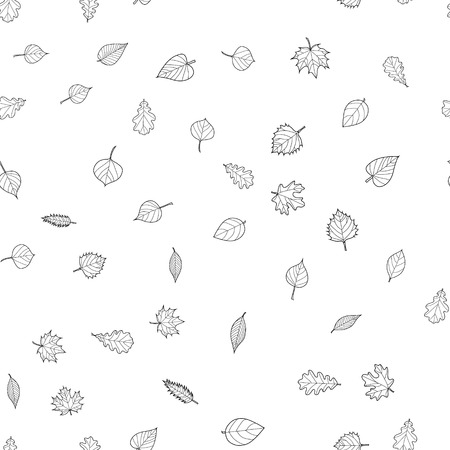 abstract vector doodle autumn leaves seamless pattern Banco de Imagens - 114861858