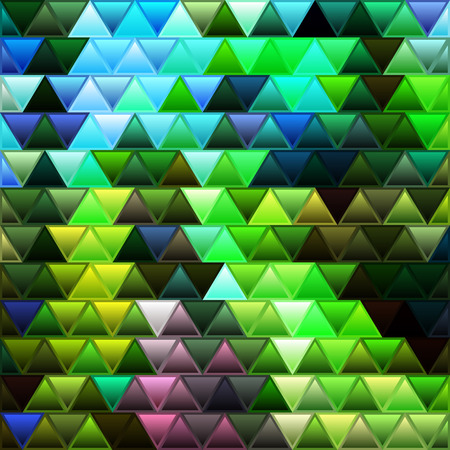 abstract vector stained-glass triangle mosaic background - green and blue 일러스트