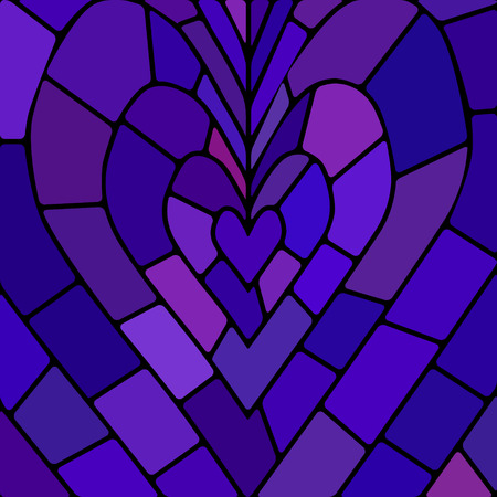 abstract vector stained-glass mosaic background - blue and violet heart
