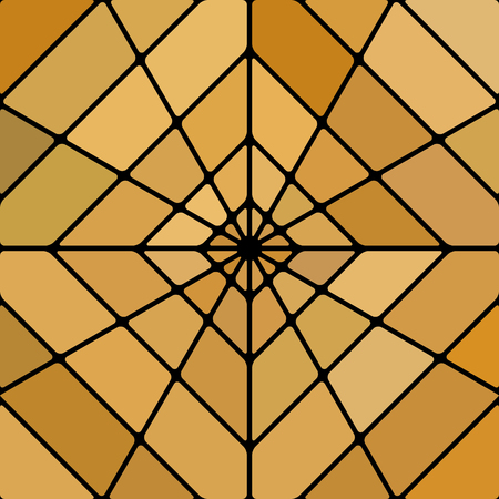 abstract vector stained-glass mosaic background - orange rhombus