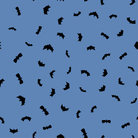 vector black flying bats silhouettes seamless pattern