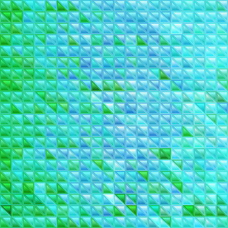abstract vector stained-glass triangle mosaic background - blue and green