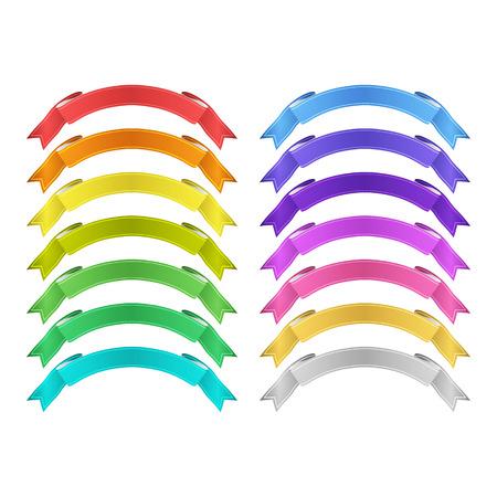 isolated vector colored satin ribbons set Ilustração