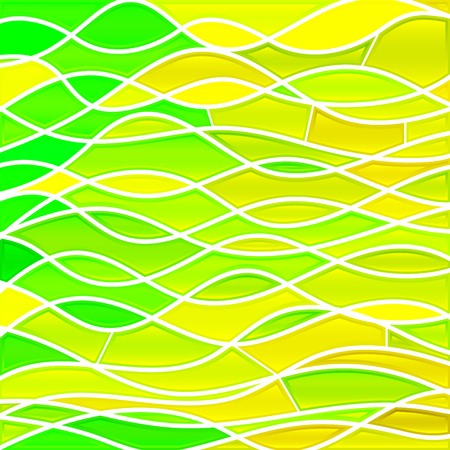 abstract vector stained-glass mosaic background - green and yellow waves Illustration