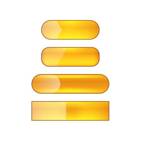 vector bright glossy web buttons set - orange Illusztráció