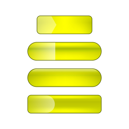 vector bright glossy web buttons set - green and yellow