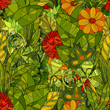 hand drawn vector floral seamless pattern Illustration