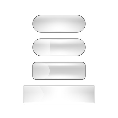 vector bright glossy web buttons set - silver