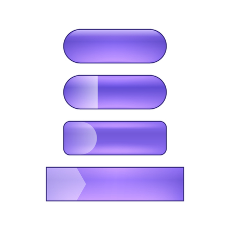 vector bright glossy web buttons set - purple and violet