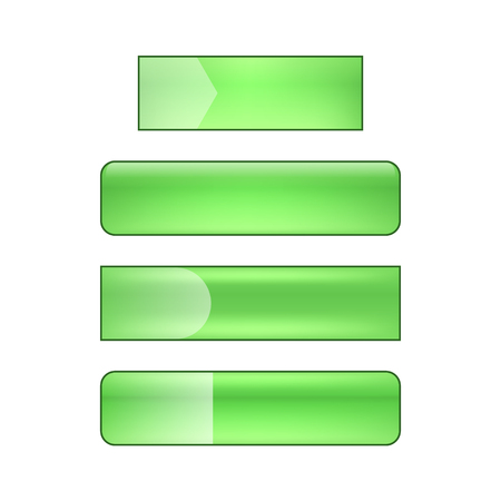 vector bright glossy web buttons set - green