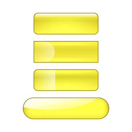 vector bright glossy web buttons set - yellow