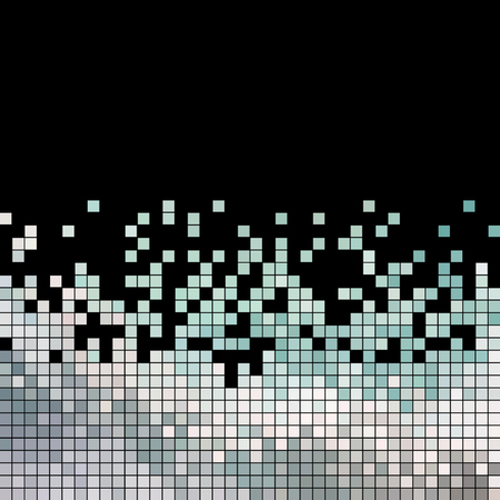abstract vector square pixel mosaic background - gray on black background