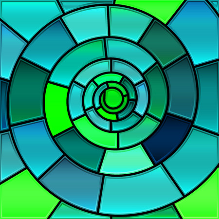 abstract vector stained-glass mosaic background - green and blue spiral Illustration
