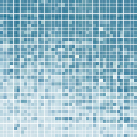 abstract vector square pixel mosaic background - light blue Illustration