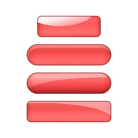 vector bright glossy web buttons set - red Illusztráció