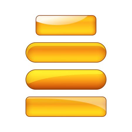 vector bright glossy web buttons set - orange  イラスト・ベクター素材