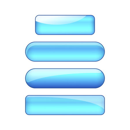 vector bright glossy web buttons set - blue
