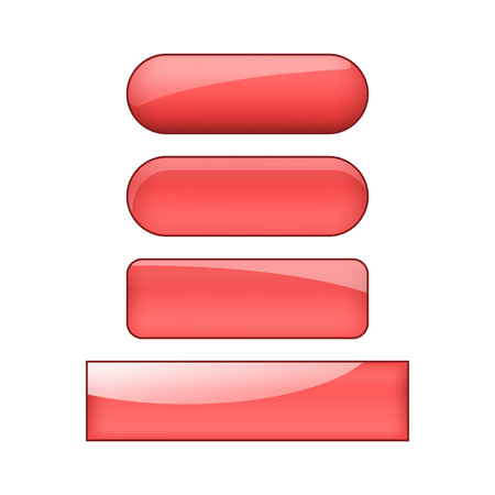 vector bright glossy web buttons set - red 向量圖像