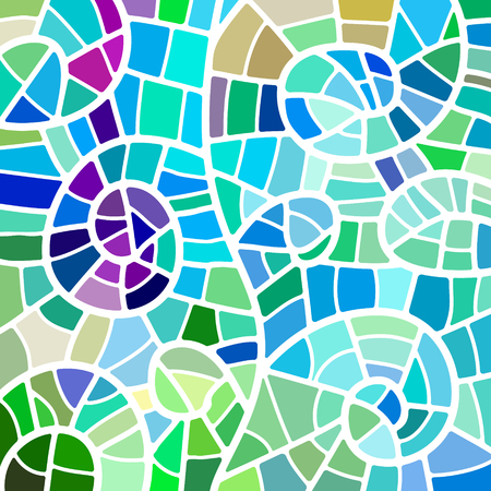 abstract vector stained-glass mosaic background - green and blue Illustration
