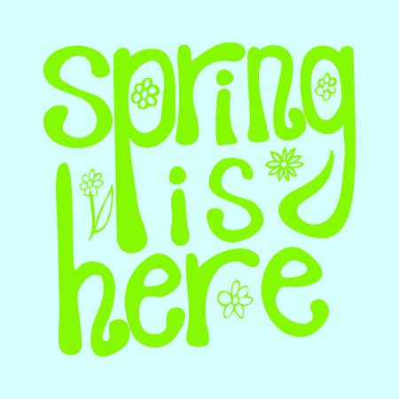 Spring is here. Vector illustration. Çizim